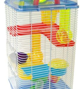 YML-3-Level-Clear-Plastic-Dwarf-Hamster-Mice-Cage-with-Ball-on-Top-Blue-0