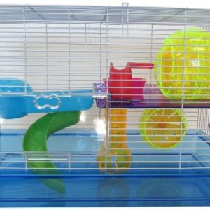 YML-Clear-Plastic-Dwarf-Hamster-Mice-Cage-with-Color-Accessories-Blue-0